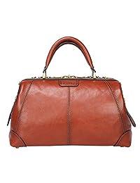 Banuce Vintage Full Grains Italian Leather Handbag for Women Briefcase Medical Doctor Bag Business Travel Bag Ladies Purse Light Brown