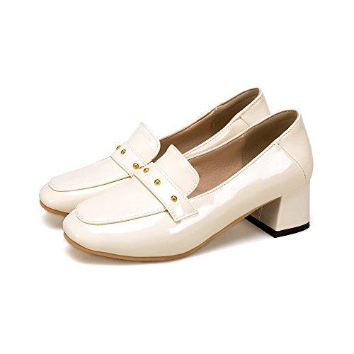 VogueZone009 Damen Ziehen auf Mittler Blend-Materialien Rein Quadratisch Zehe Pumps Schuhe Cremefarben