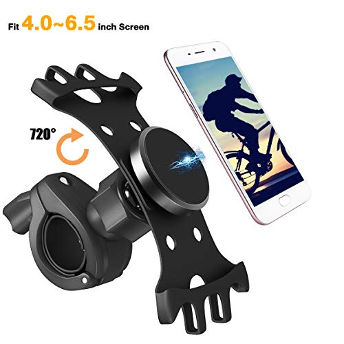 Manfiter Bike Phone Mount, Bovon 360°Rotation Silicone Bicycle Phone Holder, Universal Motorcycle Handlebar Mount Fits for iPhone X, 8/8 Plus, 7, 6/6s Plus, Galaxy S9/S9 Plus ETC, 4.0-6.5 Phones