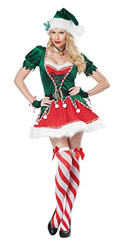 [California Costumes Women's Santa's Helper Adult, Green/Red, Small] (Green And Red Elf Costumes)
