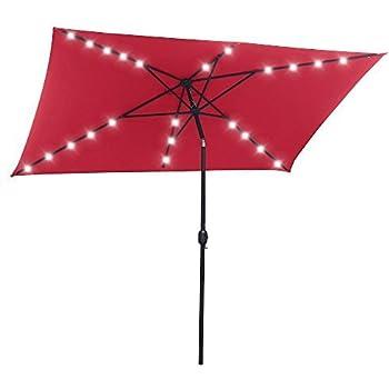 Beautiful SNAIL 6.5u0027 X 10u0027 Rectangular Solar Powered Tilting Patio Umbrella With 22  Solar Powered