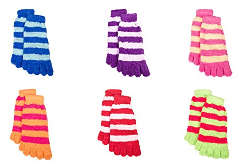 6 Pack Warm Striped Fuzzy Toe Socks For Women - Cute Colorful Winter Toe ()