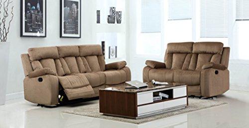 Blackjack Furniture The Elton Collection 2-Piece Reclining Living Room Sofa Set, Beige (Microfiber Sets Furniture)