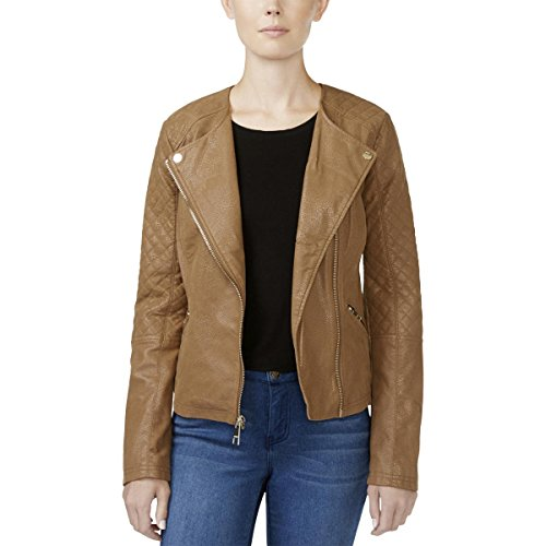 womens tan quilted coat - 7
