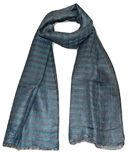 (100% Pure Linen Scarf, Two Tone Stripes In Twill & Gauze, Linen Scarf. (Light Blue & Grey))