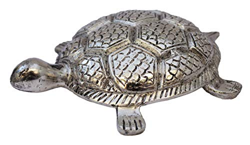 Crafticia Oxidized Metal Tortoise for Good Luck Vastu Fengshui Showpiece for Home Décor (5 inch, Silver) (Tortoise Silver)