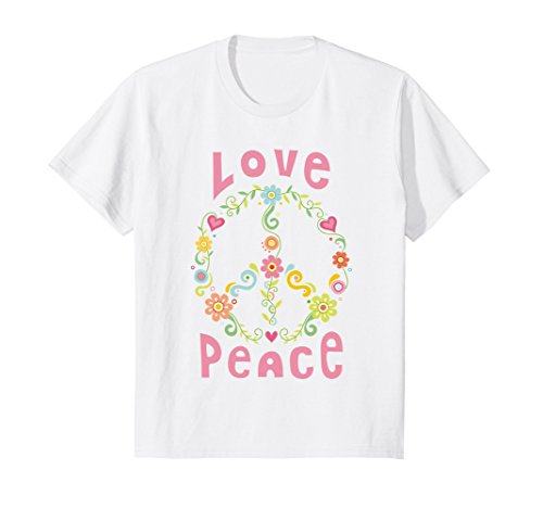 Groovy Love Peace Sign (Kids Hippie Peace and Love T-Shirt for Beautiful People 6 White)