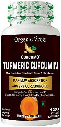 Organic Veda Turmeric Curcumin Capsules - Made with Organic Turmeric, Supports Cardiovascular Health (120 Capsules)