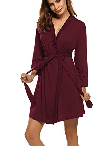 Hotouch Cotton Robes Lightweight Kimono Robe Gowns Soft Knit Bathrobe Nightwear V-Neck Loungewear Sexy Sleepwear Short for Women Burgundy XXL