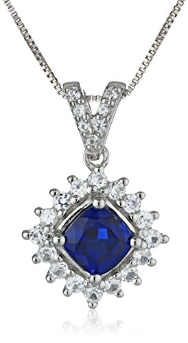 14k White Gold Lab Ceylon Sapphire and Lab White Sapphire Cushion Solitaire Pendant Necklace, (14k White Gold Lab)