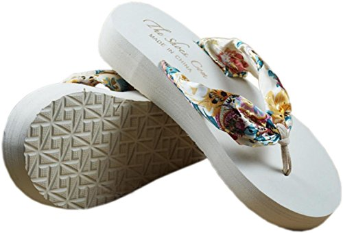 bettyhome Women Bohemian Style Satin Comfortable Thongs Casual Wedges Sandals Beach Flip Flops Slippers White 02uySD66