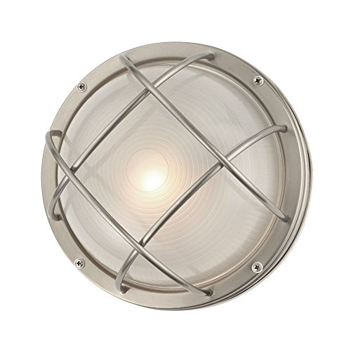 Bulkhead Wall Fixture - Marine Bulkhead Round Outdoor Wall/Ceiling Light - 10-inches Wide