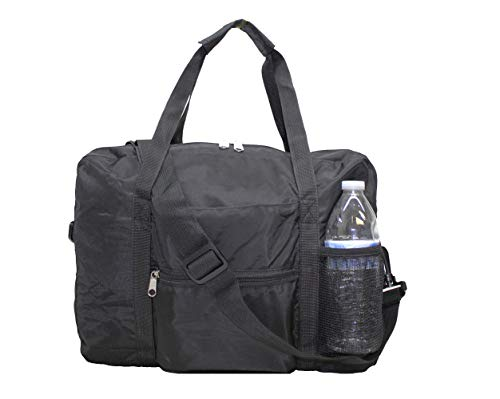 """Hand Baggage Personal Item 16"""" (40cm) Under Seat Duffel For European airlines (Black) First Class Shipping"""
