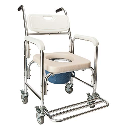 OMECAL Commode Chair w/Wheels, 4 in 1 Multifunctional Aluminum Bath Chair with Padded Seat, 300LBS Weight Capacity, for The Elderly Disabled People Pregnant Women ()