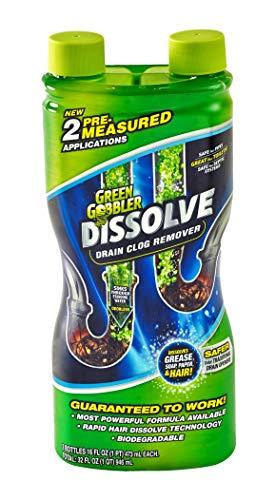 Green Gobbler GGDIS2CH32 DISSOLVE Liquid Hair & Grease Clog Remover/Drain Opener/Drain cleaner/Toilet Clog Remover (31 OZ.) by Green Gobbler
