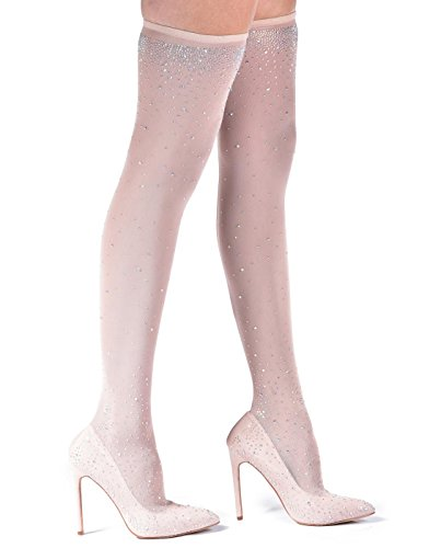 Liliana Shoes Venus Women's Over The Knee High Heel Pointed-Toe Boots (9 B(M) US, Nude) (Special Dress Occasion Venus)