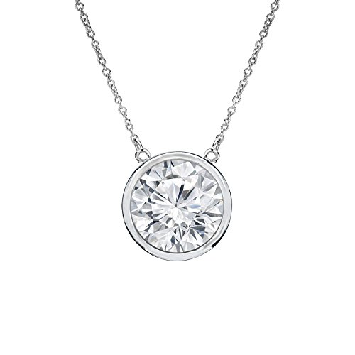 14k Gold Round Diamond Solitaire Bezel Set Pendant