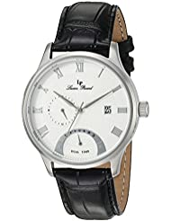 Lucien Piccard Mens Volos Quartz Stainless Steel and Black Leather Casual Watch (Model: LP-10339-02S)