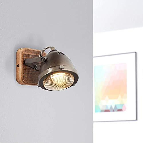 Lightbox - Lampara de pared retro, regulable, 1 foco, foco LED de pared interior orientable, casquillo GU10 para max 5 W, metal, acero, marron