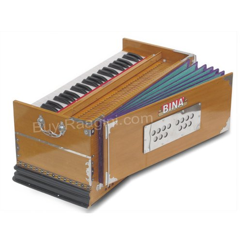 Harmonium, Musical Instrument, BINA No. 9A, In USA, 3 1/2 Octaves, 7 Stops, Standard, Tuned To A440, Natural Color, Coupler, Special Double Reeds, Bag, Book, (PDI-AGE)