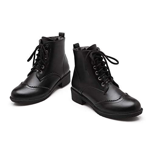Allhqfashion Women's Lace up Low Heels Pu Solid Low Top Boots Black gYDpu