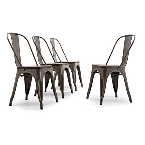 (Belleze 014-HG-14085WD-BRO Dining Side Chairs Steel High Back, Bronze )