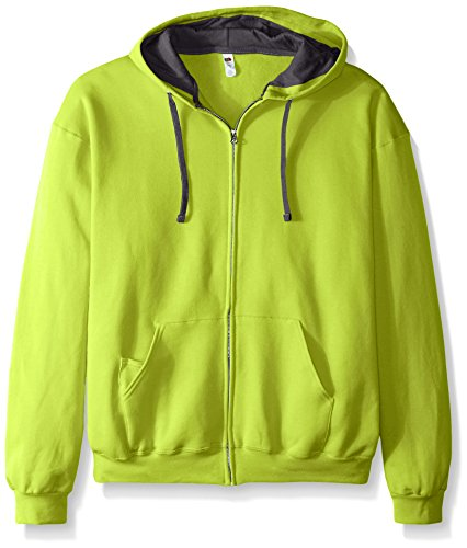 Fruit of the Loom Men's Full-Zip Hooded Sweatshirt, Citrus Green, XXX-Large