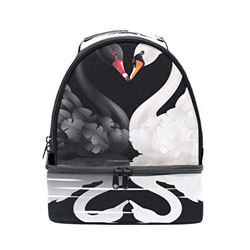 Lunch Tote White And Black Swans With Heart Shape Mens Insulated Lunch Bag Zipper Kids Lunch Box