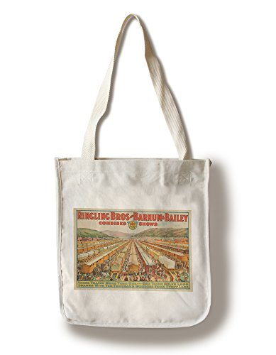 - Lantern Press Ringling Bros and Barnum and Bailey - 100 Railway Cars USA c. 1923 - Vintage Advertisement (100% Cotton Tote Bag - Reusable)