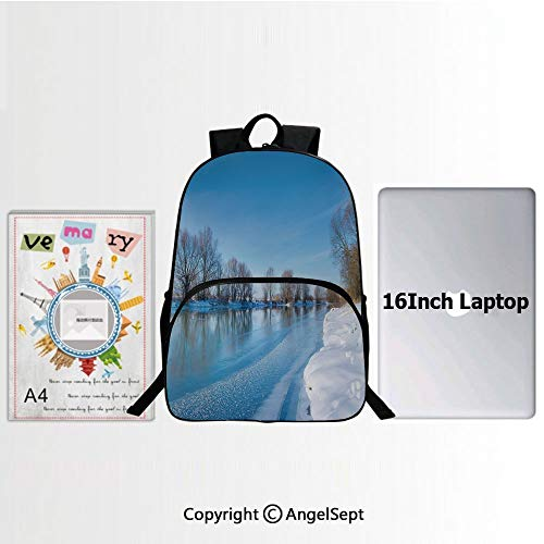 Preschool Children Bookbag,Snow Covered Frozen Winter with Clear Open Sky Photography Seasonal Image Print Decorative 15.7