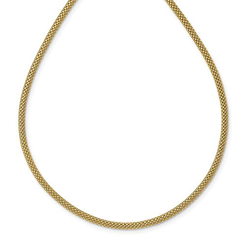 14K Yellow Gold Mesh Link Necklace Size 17.5