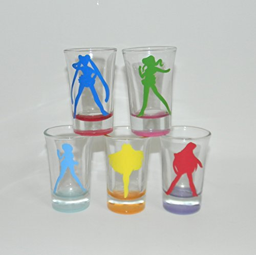 Sailor Moon shot glass set of 5 by Custom Creations by Danielle