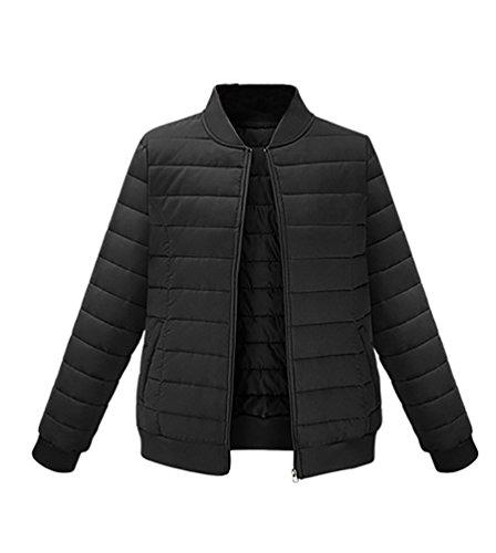 ZKOO Mujer Chaqueta de Invierno Abrigo de Manga Larga Caliente Cazadoras de Acolchada Coat Outwear Negro