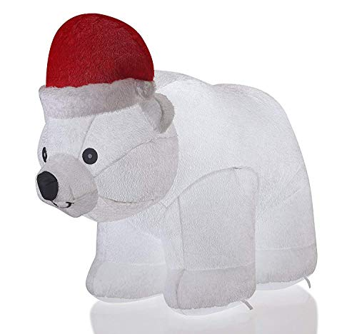 VIDAMORE 6.5 Foot Large Inflatable X-Mas Polar Bear LED Lighted Inflatables Outdoor Holiday Yard Lawn Decorations