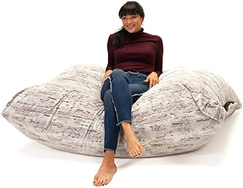 Jaxx Bean Bags Pillow Saxx Bean Bag Chairs, 5.5 Feet, Premium Luxe Fur – Silver Fox