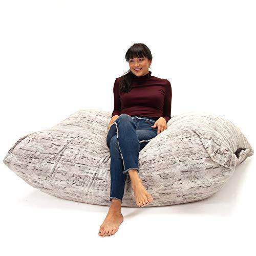 Jaxx Bean Bags 18611868 Pillow Saxx Bean Bag Chairs, 5.5 Feet, Premium Luxe Fur - Silver Fox (Direct Atlanta Furniture)