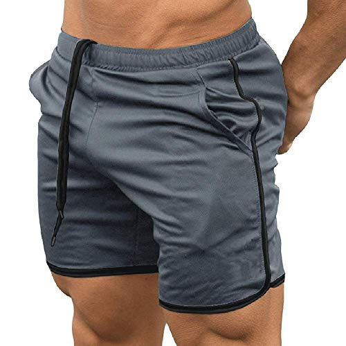 - EVERWORTH Men's Gym Workout Boxing Shorts Running Short Pants Fitted Training Bodybuilding Jogger Short Grey XS Tag M