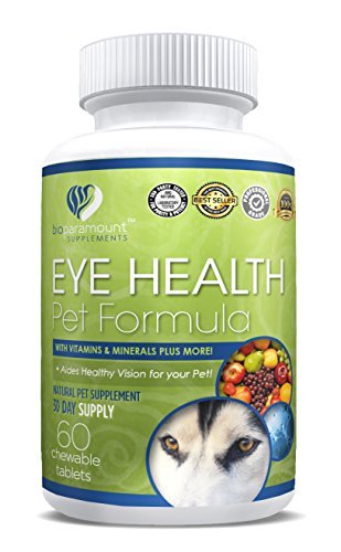 Eye Health Pet Formula - Aids Healthy Vision for Your Pet - with Vitamin A, Vitamin B1 B2 B3 B6 B7 Vitamin C, D, E & Minerals - 60 Chewable Tablets