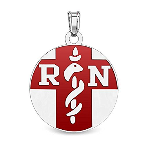 Sterling Silver RN Medical ID Charm or Pendant W/Red Enamel - 3/4 Inch X 3/4 Inch