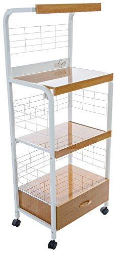 Home Source Industries 4397 Metal Microwave Cart with 2 Electrical Outlets, White with Light Wood ()