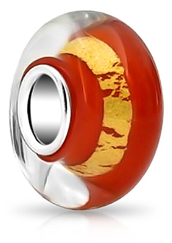 Bling Jewelry Orange Murano glass Lampwork Gold Foil Charm Bead .925 Sterling Silver - Fall Lampwork Beads
