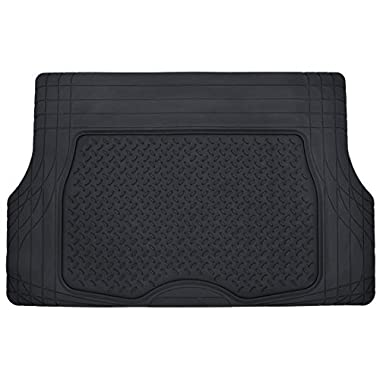 Motor Trend® Heavy Duty Rubber Cargo Mat Trunk Liner for Car SUV Auto (Black) - Odorless All Weather