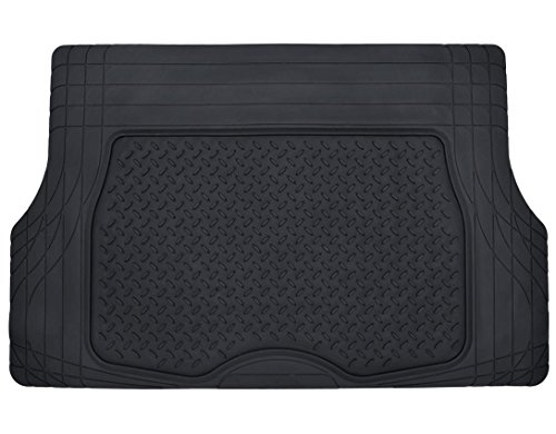 Motor Trend Heavy Duty Rubber Cargo Mat Trunk Liner for Car SUV Auto (Black) - Odorless All ()