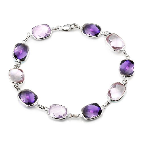 14K White Gold Gemstone Bracelet With Cushion Cut Amethyst And Pink Quartz Link Stations by amazinite