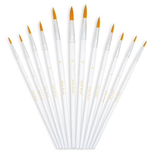 YOUSHARES 12pcs Art Paint Brush Set for Acrylic, Watercolor, Oil Painting / Craft, Nail, Face - Model Round Face