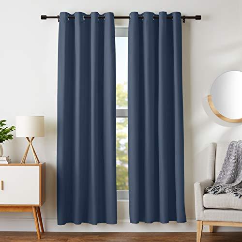 AmazonBasics Room Darkening Blackout Window Curtains with Grommets  - 42 x 84, Navy, 2 Panels