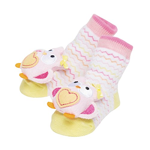 (Baby Dumpling C.R. Gibson Owl Rattle Sock Booties for Newborns, Infants, and Babies - 1 Pair)