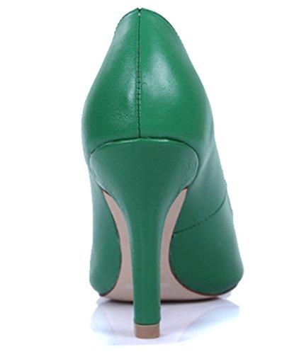 Lizform Dames Puntschoen Lederen Pumps Comfortabele Jurk Pump Prom Hoge Hak Groen
