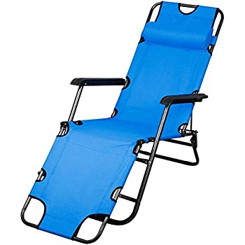 "Topeakmart Outdoor Folding and Reclining Deck Chair for Lounge Patio Yard Beach, 70"" Length,Blue"