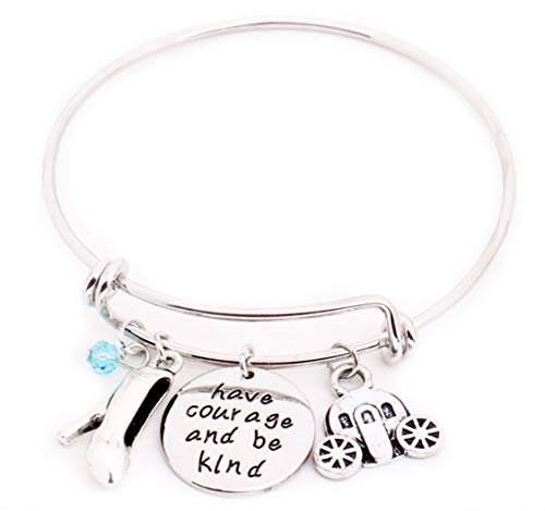 Cinderella Message Expandable Silver Bangle Bracelet Have Courage and Be Kind Fairy Godmother Bracelet with Glass Slipper Magic Pumpkin Carriage Charms Bangles